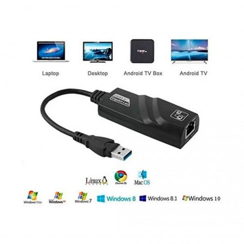 Cabo USB 3.0 para RJ45 Ethernet para Macbook Air e Macbook Pro - Preto