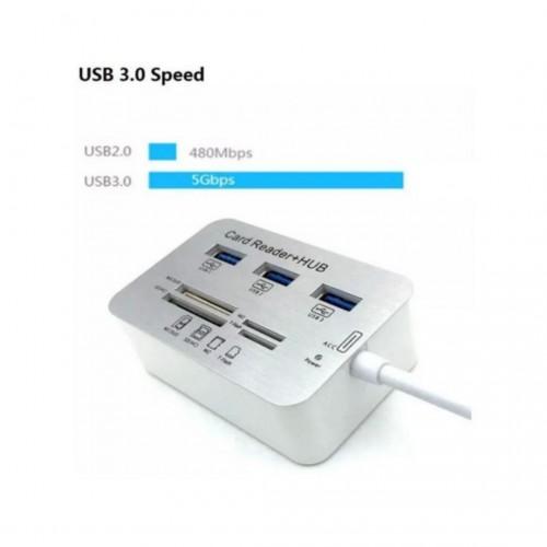 Hub USB para 3 Usb 3.0 + Leitor Memoria para Macbook Air e Macbook Pro